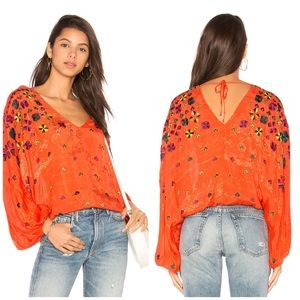 NWT Free People Music In Time Embroidered Top
